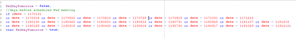 Equilla function with FOMC dates