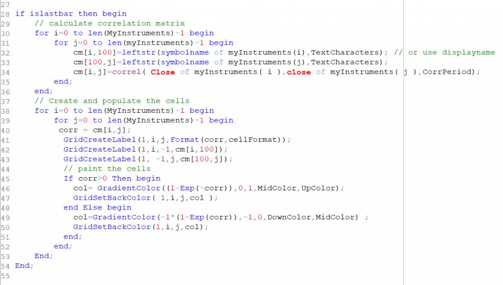 Equilla code for correlation matrix list