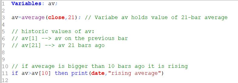 Tradesignal Variables