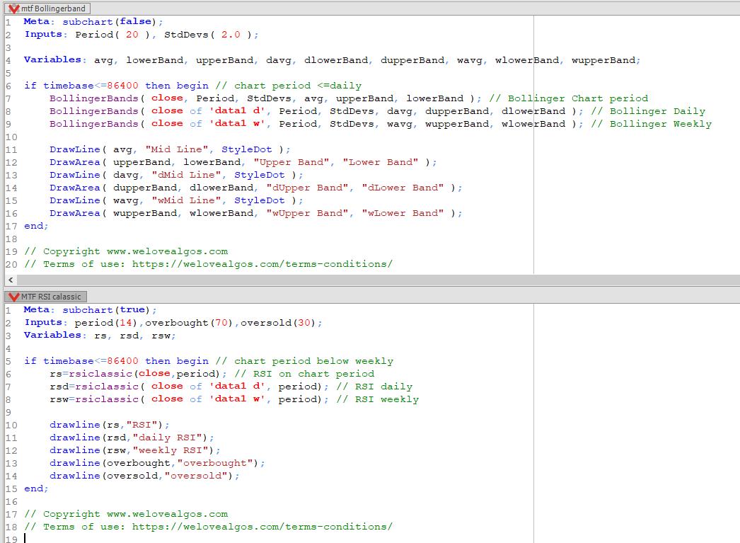 multiple timeframe indicators tradesignal code